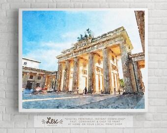 Germany, Berlin, Brandenburg Gate - Aquarelle Watercolor Painting Digital Wall Art Instant Download