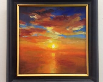 Sunset Oil Painting on Canvas, Glow, 20x20cm