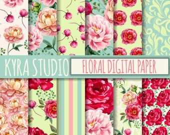 Digital Scrapbooking Paper Floral Flowers Mint Teal Peony Rose 12x12 Inches Printable papers 12 Sheets