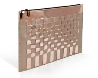 Tablet Bag, Rose Gold Metallic, Luxury Leather Clutch, Copper Leather Clutch Special Events, Celebrations, Business, Presentations, Partys