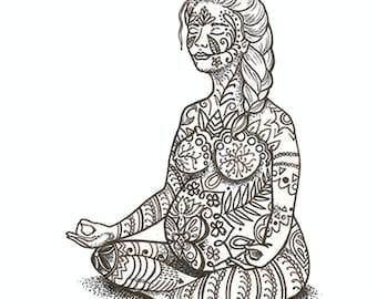 "7x7"" Giclee Print - Mother and Baby - Pregnancy Yoga Illustration - Sukhasana Pose - Mandala inspired patterns"