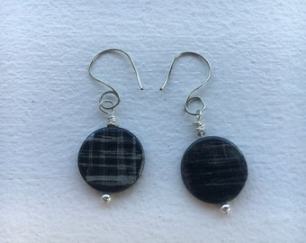 Black and grey circle earrings
