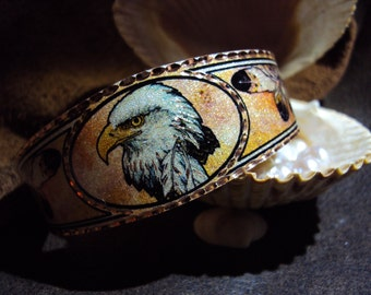 Native American Inspired Handcrafted Copper Eagle feather Cuff Bracelet