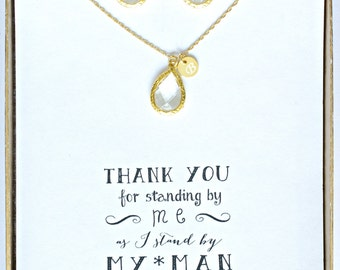 Set of 5 Clear Crystal Gold Initial Bridsemaid Necklace Earring Set, Personalized Jewelry for Bridesmaid, Gold Crystal Jewelry Set, TS5