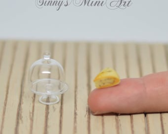 1:12 Dollhouse Miniature Roquefort Cheese in Glass Dome Tray/ Dollhouse Miniature Cheese/ Miniature Cheese F1014