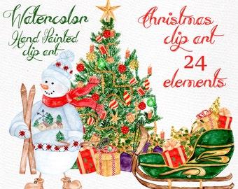 "Watercolor Christmas clipart: ""CHRISTMAS CLIPART"" Season Winter clipart Christmas ornaments Snowmen Gifts Christmas tree Holiday Clipart"