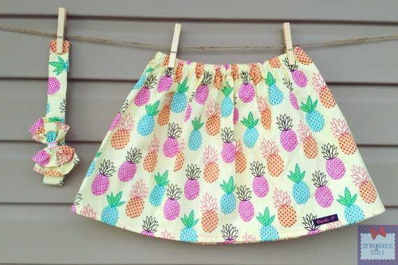 Skirt & headband - all - girl - printed pineapple