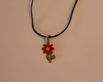 Flower black cord necklace