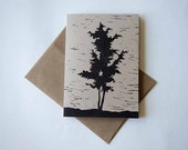 Greeting Card, Single, Hand Block Printed (Hand Carved Linocut Art Stationery Print) Unique Christmas Card, Tree, Nature style (Black)