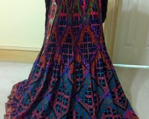 """Gorgeous Lanvin couture 22 Faubg St Honore Paris, ethnic print dirndl full skirt yarn Made in France RARE!L aprox size Small Waist 30"""""""