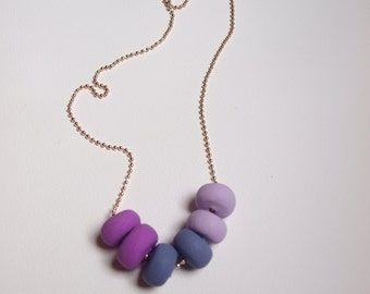 Purple, Polymer Clay Necklace, Handmade Beaded Necklace