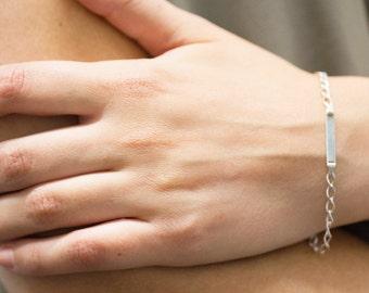 Sterling Silver Dainty, Tiny, ID Link Bracelet