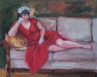 Woman in Red, Sixties Style, White Gloves, Reclining Figure