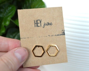 Gold hexagon earrings, hexagon earrings, hexagon stud earrings, silver hexagon earrings,  geometric earrings, bridesmaids gifts