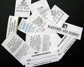 250 Printed Label Taffeta Printed Clothing Labels