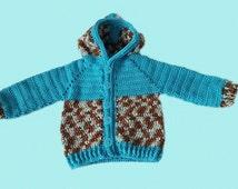 Crochet hoodie, baby boy sweater, sweater 6-12 mo, boy clothing, handmade hoodie, mint blue hoodie, button down hoodie, birthday gift boy