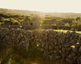 Dry Stone Wall - Sunset - Inishmore - Aran Islands - County Galway - Republic of Ireland - Ireland - Photo - Print