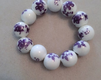 Purple and White Flowers Bracelet