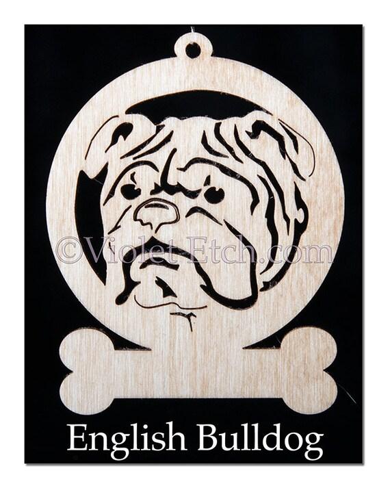Pet Ornament-Wood Ornament-English Bulldog Ornament-English Bulldog Gift-Laser Cut Ornament-Free Personalization