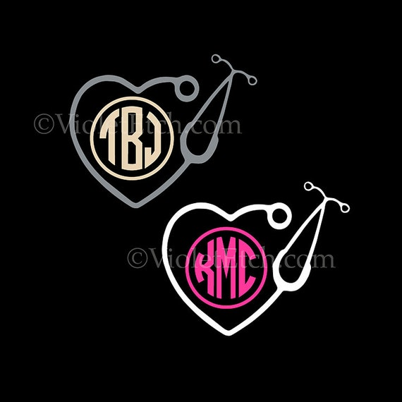 Stethoscope Decal-Nurse Circle Monogram Decal-Stethoscope Circle Monogram Decal-Yeti Decal-Tumbler Decal-Window Decal