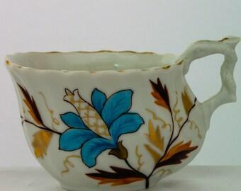 Vintage Blue Floral Mustache Mug