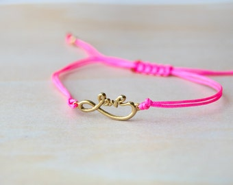 Love bracelet, gold love bracelet, bracelet for her, infinity, infinity symbol, gift for girlfriend, anniversary, infinity bracelet