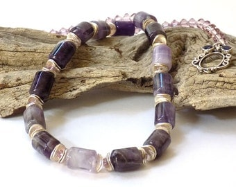 Purple Necklace and Earrings for Women, Amethyst Necklace, Purple Statement Necklace, Gemstone Necklace, Short Necklace, Handcrafted Jewelry