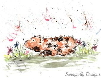 Guinea pig watercolour PRINT, guinea pig, watercolour painting, guinea pig illustration, guinea pig art print, nursery print, new baby gift
