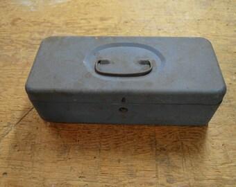 Metal Tackle Box, Vintage Fishing Box, Old Fishing Equipment #221
