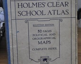 Vintage Childrens School Atlas. World and UK. Vintage Maps. Scottish Holmes Edition. 1940-50s