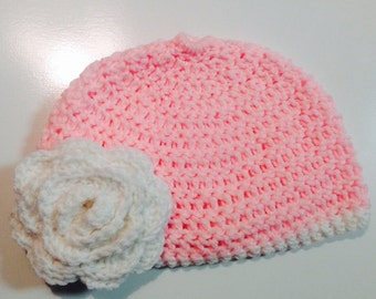 Pink Hat with White Flower