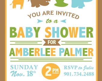 Animal Themed Baby Shower Invite with Book Card