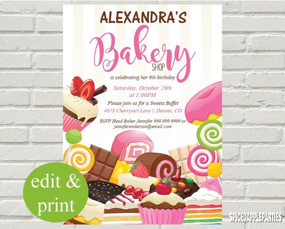 baking party birthday invitation cooking party baking birthday