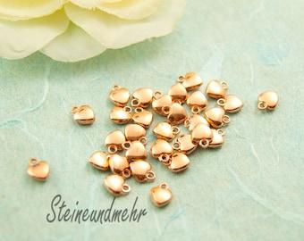 10pcs tiny heart rosegold pl #3215