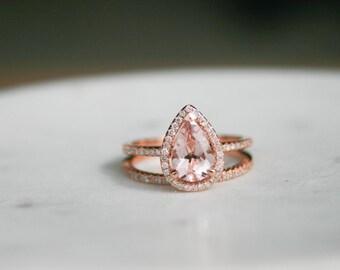Pear Morganite, Diamond Halo Engagement Ring, Rose Gold Art Deco, Wedding set,  Morganite Wedding set, Diamond, Rose Gold, Halo Diamond