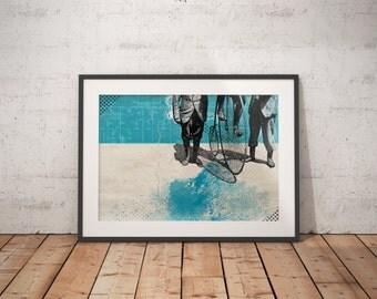 Bike / Cycling Illustration Mixed Media A3 Print