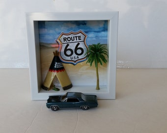 Route 66 Shadow Box Diorama With 1964 Pontiac Grand Prix 1/64 Metal Die Cast Adult Collectible replica Memorabilia