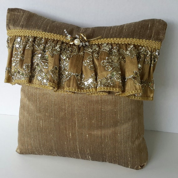 Gold Silk Decorative Accent Pillow Designer Pillow Custom
