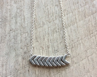 Silver Chevron Necklace, Bar Necklace, Short Necklace, Chevron Jewelry, Rustic Modern Jewelry, Free Shipping U.S.