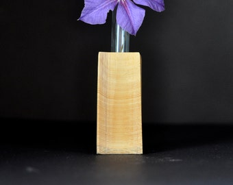 wooden bud vase with cutouts