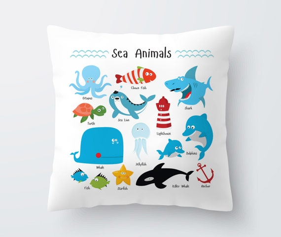 Animal Pillows For Nursery : Items similar to Decorative Pillow for Kids with Sea Animals, Kids Room Decor, Nursery Decor ...