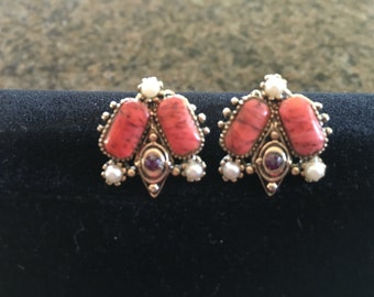 Beautiful Coral Colored Faux Pearl Clip Earrings