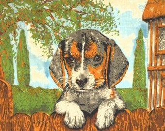 Retro Vintage Linen Cotton Beware of the Cute Beagle Dog Tea Towel - 70s Guide Dogs for the Blind Tea Towel NOS