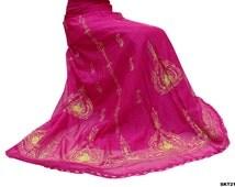 Designer Lehenga Chunri Magenta Indian Vintage Bridal Dress Silk Blend Embroidered Hand Beaded Fabric Wedding Women's Clothing SKT21