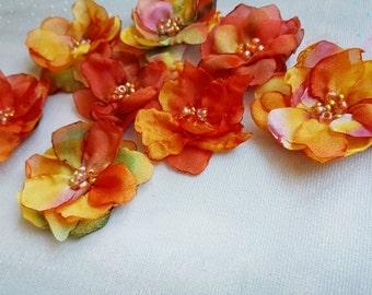 Orange silk flowers Handmade fabric flowers Small flower embellishments 8 pcs
