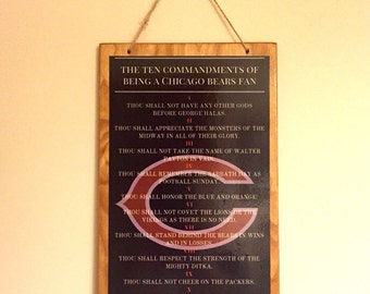 The 10 Commandments of Being a Chicago Bears Fan Wall Decor Sign