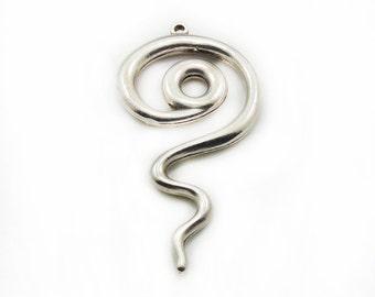 Swirl Pendant, Metal Swirl Pendant, Large Pendant, Cirle of Life Pendant, Jewelry Making, Craft Supplies, Metal Pendant