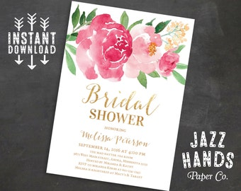 Printable Bridal Shower Invitation, Bridal Shower Invites, Wedding Shower Invitation, Wedding Printable, Watercolor Floral, Instant Download