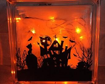 Halloween Glass Block with Lights