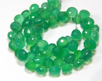 Green Onyx Faceted Onion Beads 100% Natural Gemstone Size 6.8x5.3 mm Approx Code - 0511
